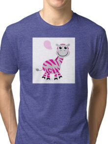 Zebra with speech bubble : pink striped cartoon character Tri-blend T-Shirt