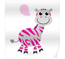 Zebra with speech bubble : pink striped cartoon character Poster
