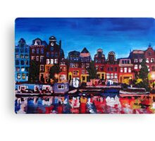 Amsterdam Skyline With Canal At Night Canvas Print