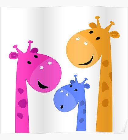 Group of giraffes collective. Vector cartoon Illustration Poster