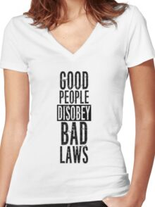 Protest Quote Funny Text Good People Women's Fitted V-Neck T-Shirt