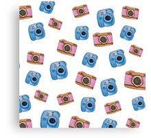 Photography inspired pattern. Polaroid and DSLR Camera. Watercolor art. Canvas Print