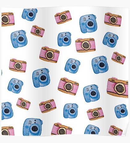 Photography inspired pattern. Polaroid and DSLR Camera. Watercolor art. Poster