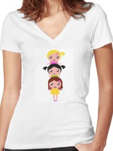 Happy childrens group : pink, yellow : friendship school girls Women's Fitted V-Neck T-Shirt