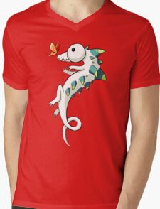 Crocodile and a Butterfly Mens V-Neck T-Shirt