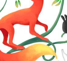 Bunnies and a Fox Sticker