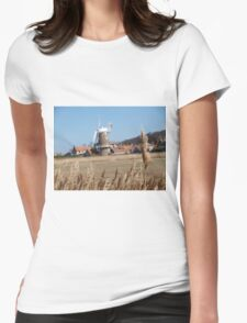 Cley Windmill from the reeds Womens Fitted T-Shirt