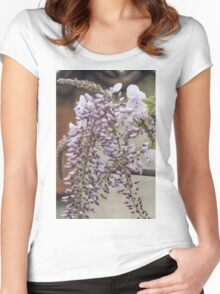 white wisteria in spring Women's Fitted Scoop T-Shirt
