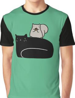 Squirrel and Black Cat Graphic T-Shirt
