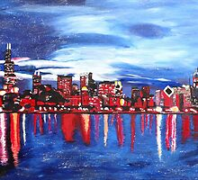 Chicago Skyline At Night by artshop77
