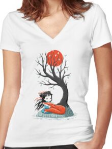 Girl and a Fox 2 Women's Fitted V-Neck T-Shirt