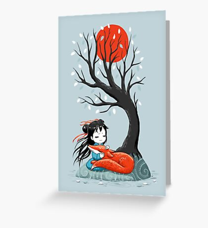 Girl and a Fox 2 Greeting Card