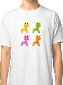 Funky creature set isolated on white : colorful Giraffes Classic T-Shirt