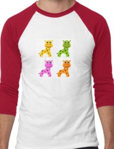 Funky creature set isolated on white : colorful Giraffes Men's Baseball ¾ T-Shirt