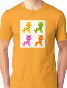 Funky creature set isolated on white : colorful Giraffes Unisex T-Shirt