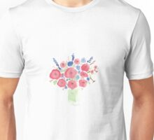 Watercolor vase of spring flowers Unisex T-Shirt