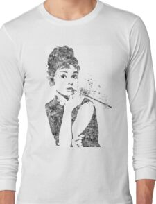 Audrey Hepburn Watercolor Pop Art  Long Sleeve T-Shirt