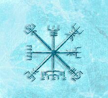 Vegvísir over Permafrost in blue by chromedreaming