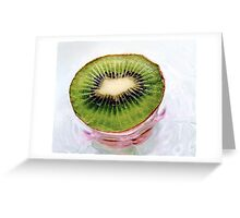 Kiwi Fruit on a Pink and Blue Glass Plate Greeting Card