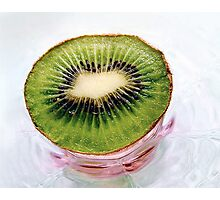 Kiwi Fruit on a Pink and Blue Glass Plate Photographic Print