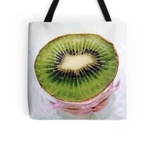 Kiwi Fruit on a Pink and Blue Glass Plate Tote Bag