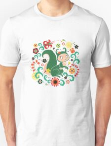 Russian FOLK  Green Squirrel. T-Shirt