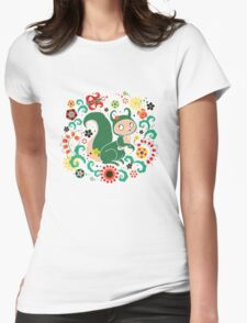 Russian FOLK  Green Squirrel. Womens Fitted T-Shirt