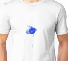 Watercolor dark blue flowers shedding seeds Unisex T-Shirt