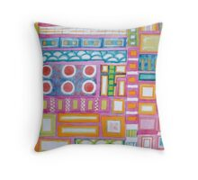 Filled Pink Grid Throw Pillow