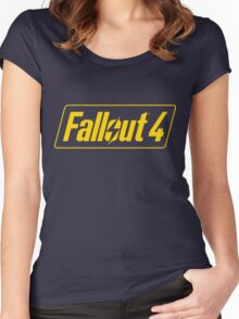 Fallout 4 Logo Yellow Blue Bethesda Design Women's Fitted Scoop T-Shirt