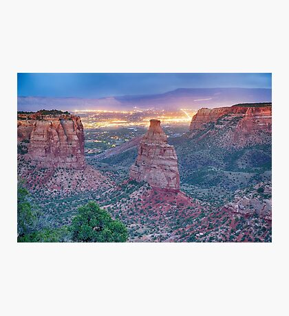 Colorado National Monument And City Lights Photographic Print