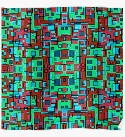 OVERLAP RED SQUARES Poster