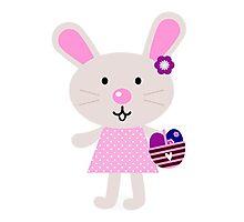 Cute retro easter bunny. Vector cartoon Illustration : Designer Cloth Photographic Print
