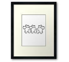 drei 3 team freunde gruppe party popo arsch hintern lustig comic dick cartoon kleines süßes niedliches baby kind nilpferd glücklich  Framed Print