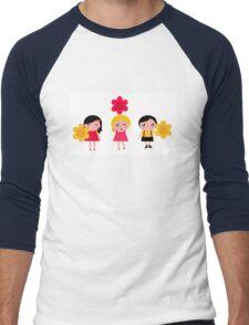 Cute childrens holding flowers : cartoon characters Men's Baseball ¾ T-Shirt