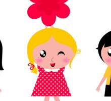 Cute childrens holding flowers : cartoon characters Sticker