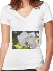 blooming magnolia flowers in spring Women's Fitted V-Neck T-Shirt