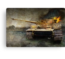 tiger tank faces T-34, eastern front Canvas Print