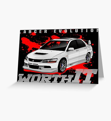 Mitsubishi Lancer Evo (white) Greeting Card
