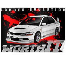 Mitsubishi Lancer Evo (white) Poster