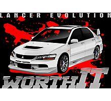 Mitsubishi Lancer Evo (white) Photographic Print