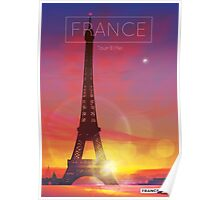 Visit France Eiffel Tower Poster Poster