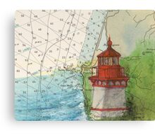 Trinidad Head Lighthouse CA Nautical Map Cathy Peek Canvas Print