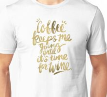 Coffee & Wine – Gold Unisex T-Shirt