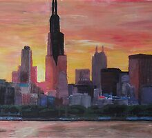 Chicago Skyline At Sunset by artshop77