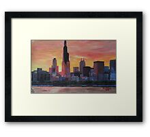 Chicago Skyline At Sunset Framed Print