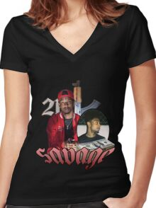21 SAVAGE VINTAGE T SHIRT TEE HIPHOP Women's Fitted V-Neck T-Shirt