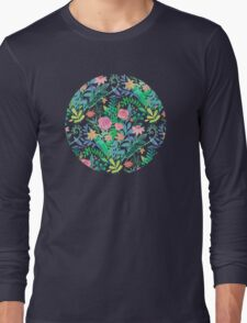 Roses + Green Messy Floral Posie Long Sleeve T-Shirt