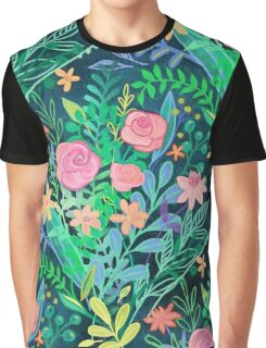Roses + Green Messy Floral Posie Graphic T-Shirt