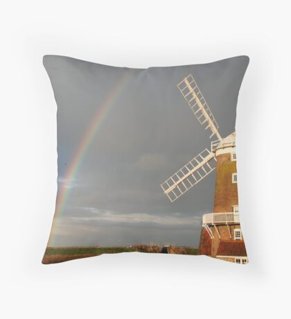 Cley Windmill and Rainbow 2010 Throw Pillow